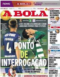 capa Jornal A Bola de 22 abril 2021