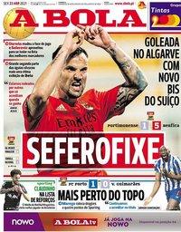 capa Jornal A Bola de 23 abril 2021