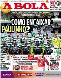 capa Jornal A Bola de 24 abril 2021