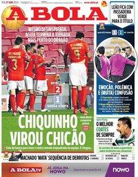 capa Jornal A Bola de 27 abril 2021