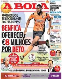 capa Jornal A Bola de 30 abril 2021