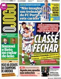 capa Jornal O Jogo de 1 abril 2021