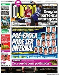 capa Jornal O Jogo de 2 abril 2021