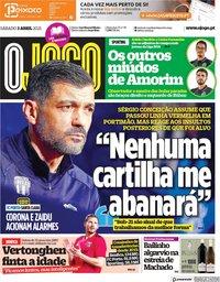 capa Jornal O Jogo de 3 abril 2021
