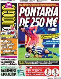 capa Jornal O Jogo de 8 abril 2021