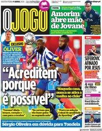capa Jornal O Jogo de 9 abril 2021