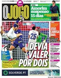capa Jornal O Jogo de 14 abril 2021