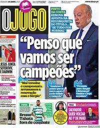 capa Jornal O Jogo de 24 abril 2021