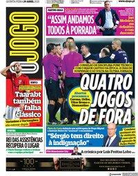 capa Jornal O Jogo de 29 abril 2021
