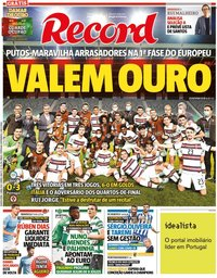 capa Jornal Record de 1 abril 2021