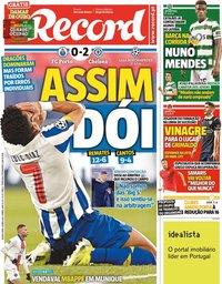 capa Jornal Record de 8 abril 2021