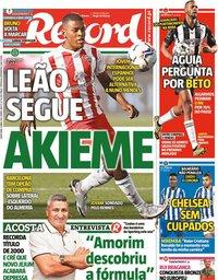 capa Jornal Record de 9 abril 2021