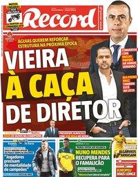 capa Jornal Record de 10 abril 2021