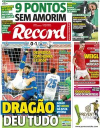 capa Jornal Record de 14 abril 2021