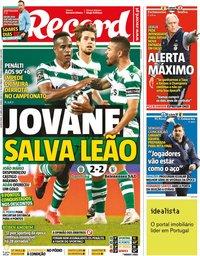 capa Jornal Record de 22 abril 2021