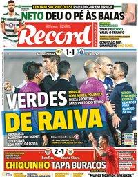 capa Jornal Record de 27 abril 2021