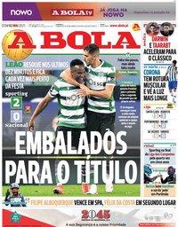 capa Jornal A Bola de 2 maio 2021