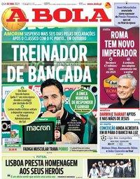 capa Jornal A Bola de 5 maio 2021
