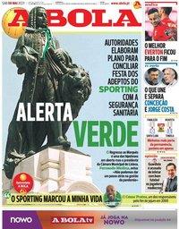 capa Jornal A Bola de 8 maio 2021