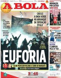 capa Jornal A Bola de 9 maio 2021