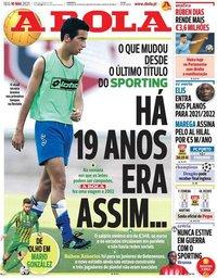 capa Jornal A Bola de 10 maio 2021
