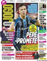 capa Jornal O Jogo de 22 maio 2021