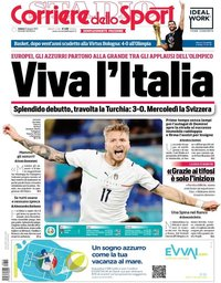 capa Corriere dello Sport de 12 junho 2021