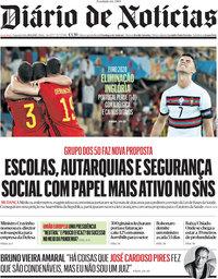 capa Diário de Notícias de 28 junho 2021