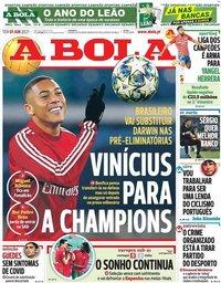 capa Jornal A Bola de 1 junho 2021