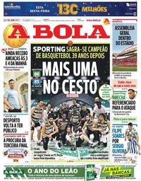 capa Jornal A Bola de 3 junho 2021