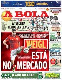 capa Jornal A Bola de 4 junho 2021
