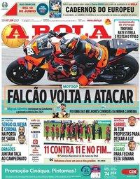 capa Jornal A Bola de 7 junho 2021