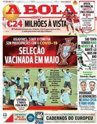 capa Jornal A Bola de 8 junho 2021