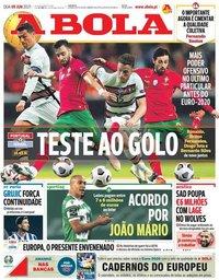 capa Jornal A Bola de 9 junho 2021