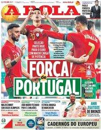 capa Jornal A Bola de 10 junho 2021