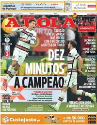 capa Jornal A Bola de 16 junho 2021