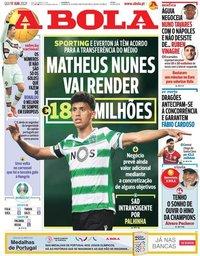capa Jornal A Bola de 17 junho 2021
