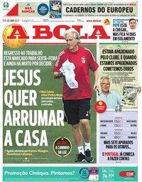 capa Jornal A Bola de 22 junho 2021