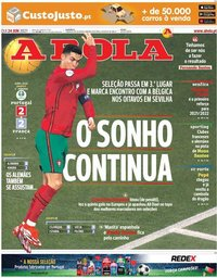 capa Jornal A Bola de 24 junho 2021