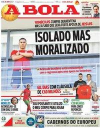 capa Jornal A Bola de 26 junho 2021