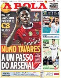 capa Jornal A Bola de 29 junho 2021