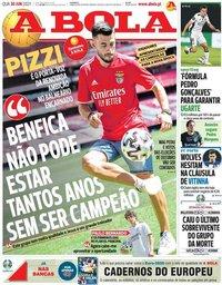 capa Jornal A Bola de 30 junho 2021