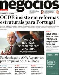 capa Jornal de Negócios de 1 junho 2021