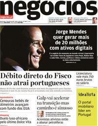 capa Jornal de Negócios de 2 junho 2021