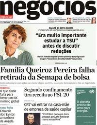 capa Jornal de Negócios de 8 junho 2021
