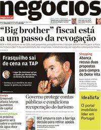 capa Jornal de Negócios de 9 junho 2021