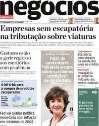 capa Jornal de Negócios de 14 junho 2021
