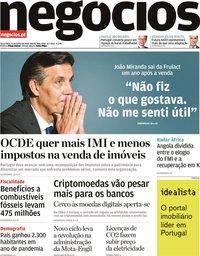 capa Jornal de Negócios de 15 junho 2021