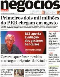 capa Jornal de Negócios de 16 junho 2021