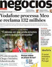 capa Jornal de Negócios de 21 junho 2021